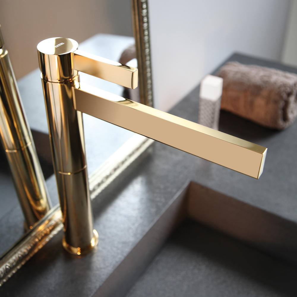 Epic Polished Gold Waterfall Bathroom Faucet with Gold Faucet Bathroom