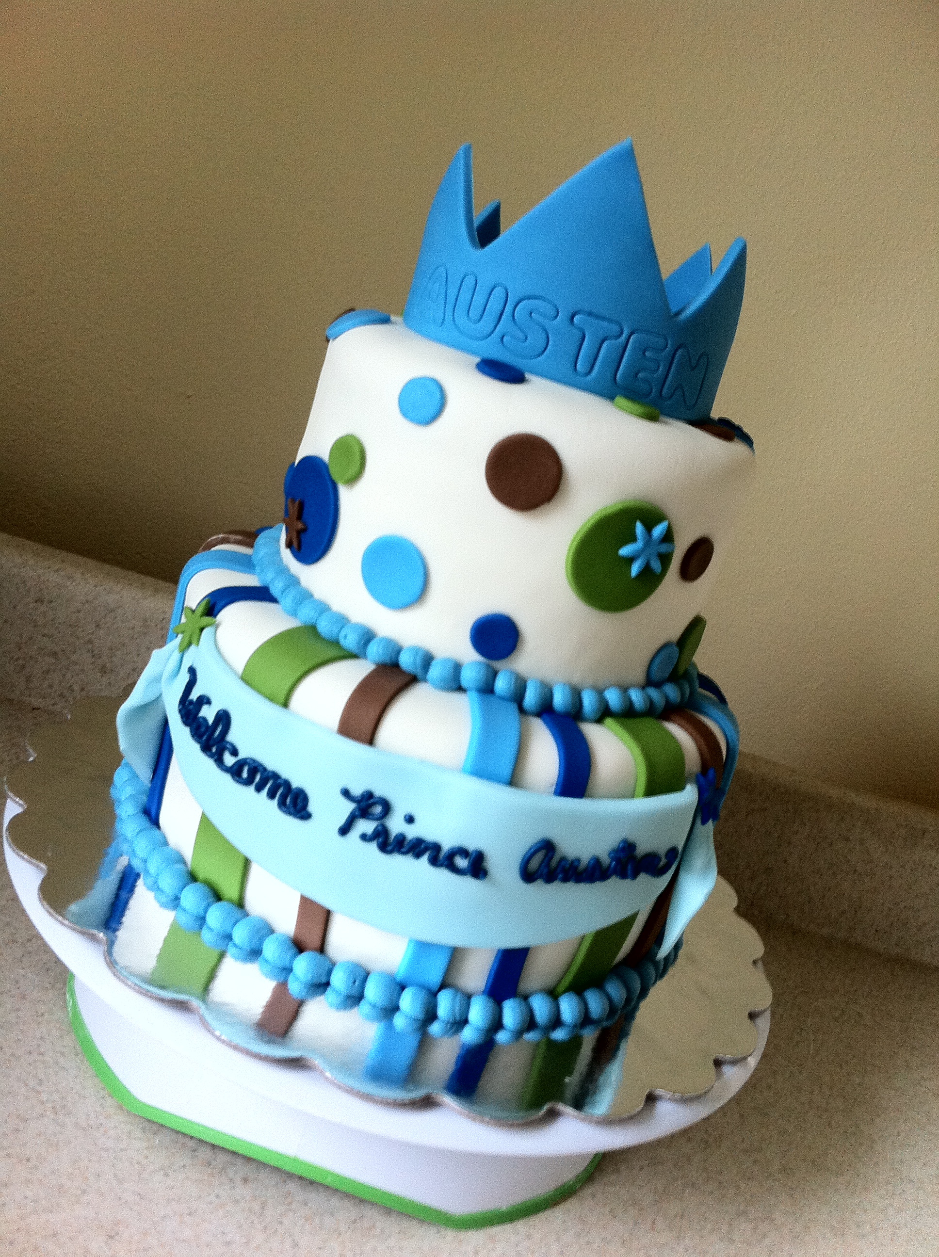 Epic Prince Baby Shower Cake | Lolo's Cakes & Sweets throughout Beautiful Blue And Green Baby Shower