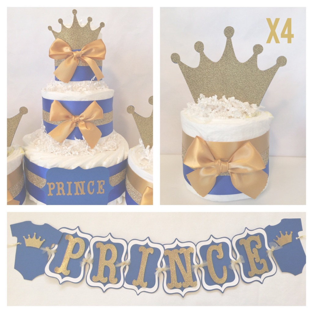 Epic Prince Baby Shower Party Package In Royal Blue And Gold, Prince with Prince Themed Baby Shower Decorations