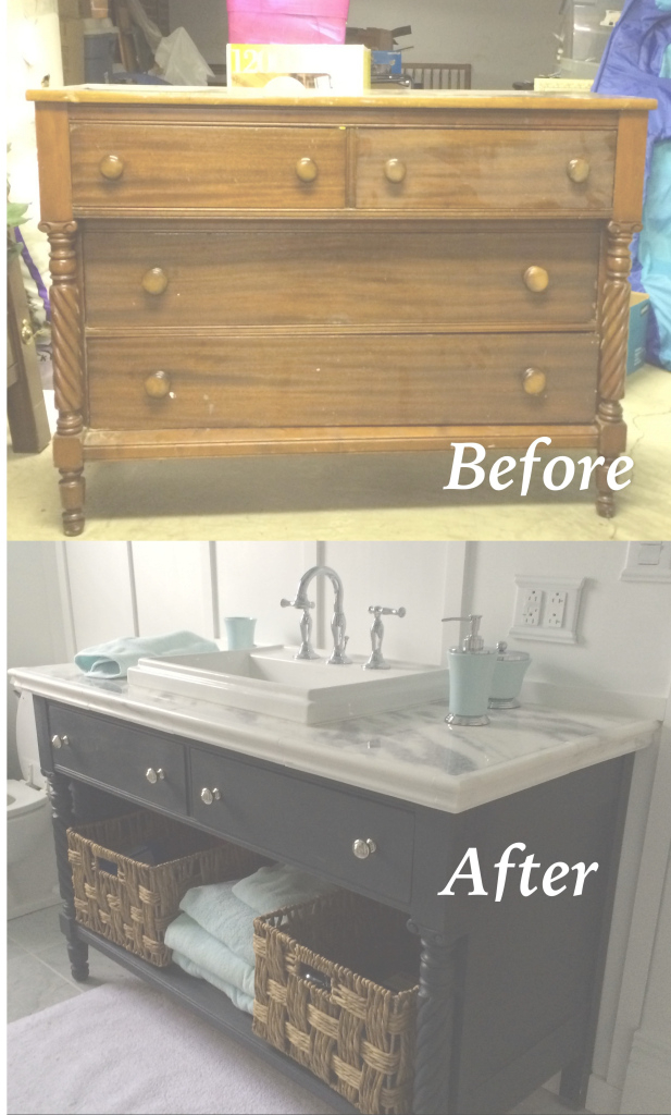 Epic Re-Do Of An Old Dresser Into A Bathroom Vanity. Painted With Chalk in Dresser Bathroom Vanity