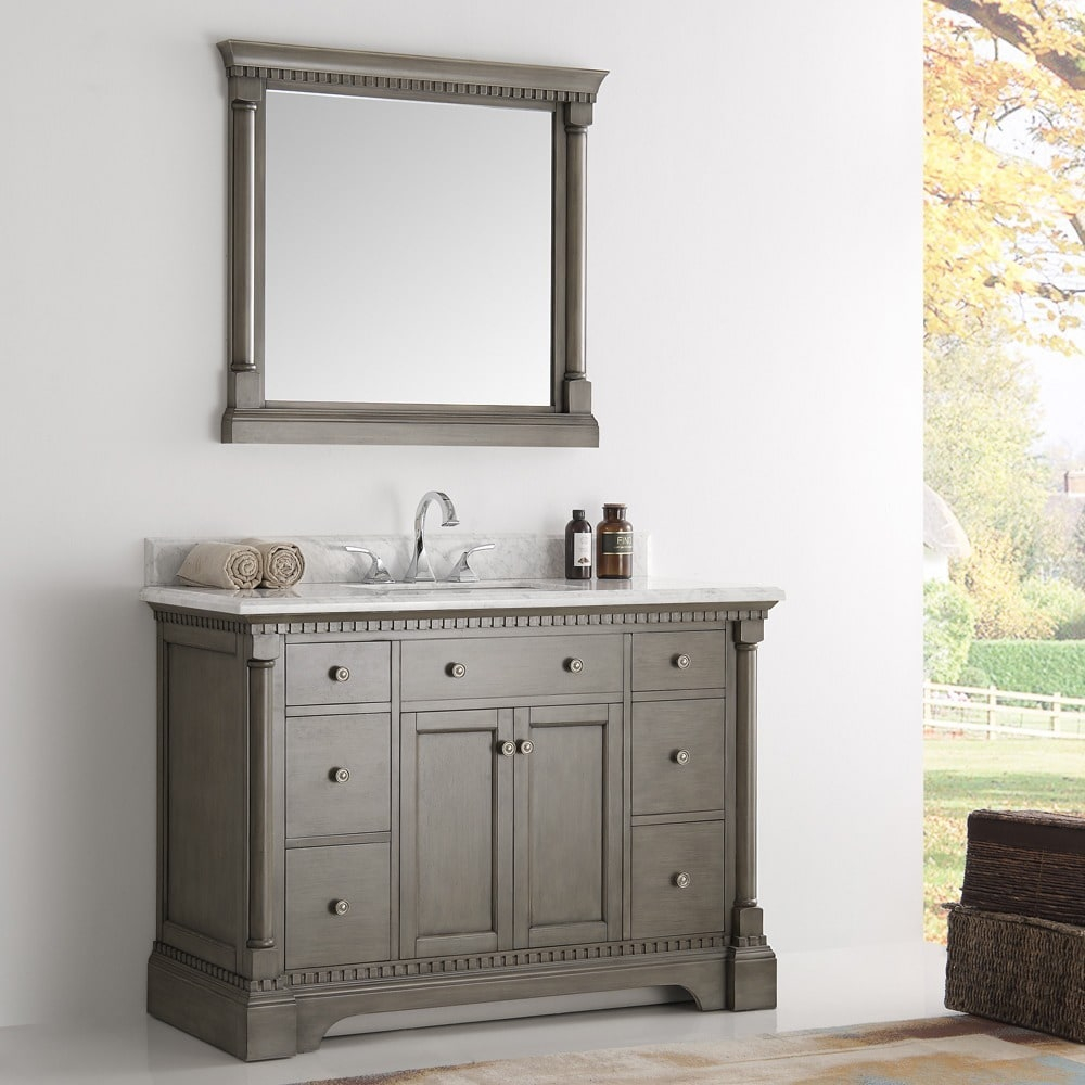 Epic Shop Fresca Kingston Antique Silver 48-Inch Traditional Bathroom for Traditional Bathroom Vanity