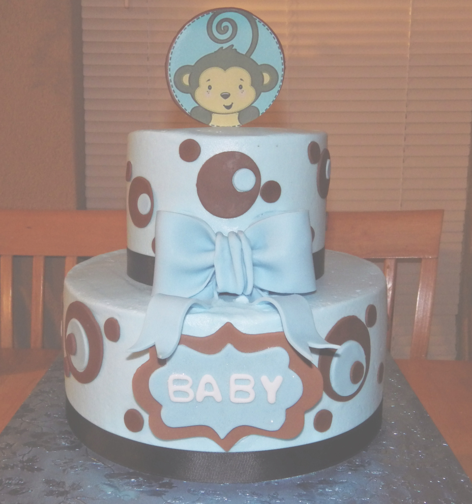 Epic Simple Design Monkey Baby Shower Cake Blue And Brown Sport Monkey for Baby Shower Monkey Cakes