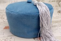 Epic Smoking Cap Lounge Hat – Dusky Blue Cotton Velvet With Silver Tassel inside Dusky Blue