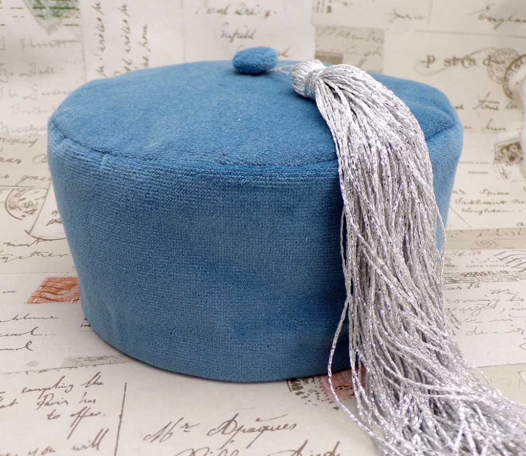 Epic Smoking Cap Lounge Hat - Dusky Blue Cotton Velvet With Silver Tassel inside Dusky Blue