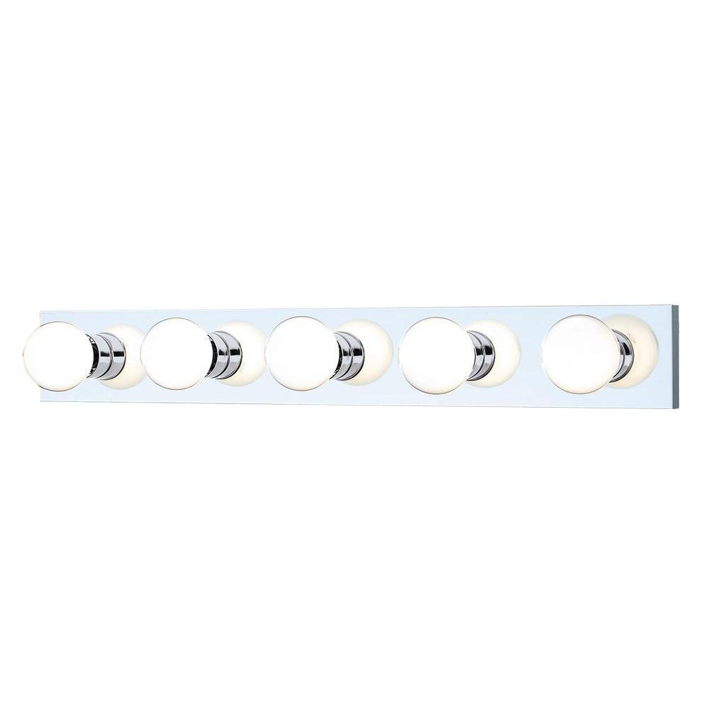 Epic Thomas Lighting 5-Light Chrome Wall Vanity Light-Sl74154 - The Home regarding Luxury Home Depot Bathroom Vanity Lights