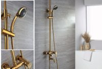 Epic Ti-Pvd Wall Mount Rain & Handheld Shower Faucet – Faucetsuperdeal with High Quality Gold Faucet Bathroom