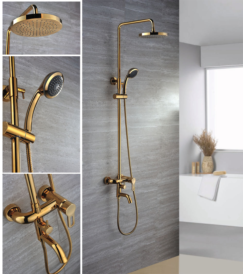 Epic Ti-Pvd Wall Mount Rain & Handheld Shower Faucet - Faucetsuperdeal with High Quality Gold Faucet Bathroom