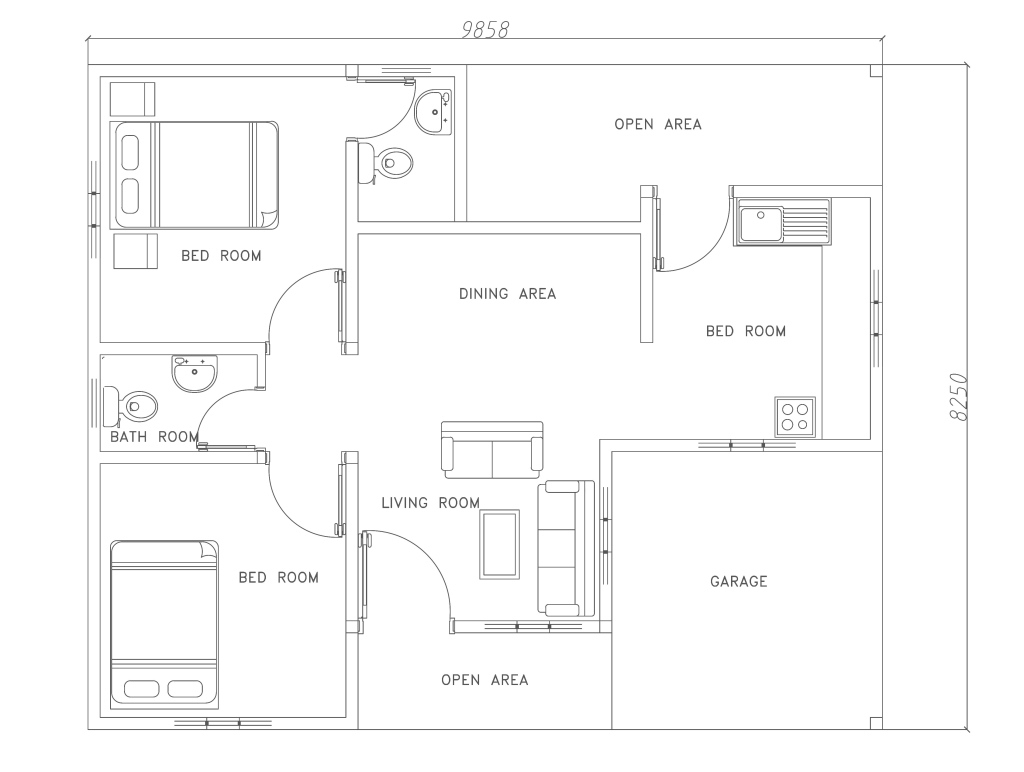 Epic Two Bed Room Modern House Plan - Dwg Net | Cad Blocks And House Plans regarding Modern House Plans Free Download