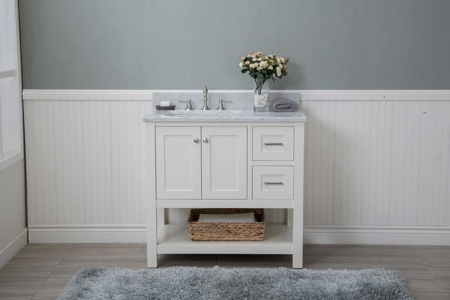 "Epic White Shaker 36"" Bathroom Vanity Open Shelf W/ Marble Top regarding Awesome 36 In Bathroom Vanity With Top"