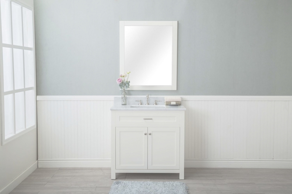 "Epic White Shaker 36"" Bathroom Vanity W/ Marble Top for Marble Bathroom Vanity"