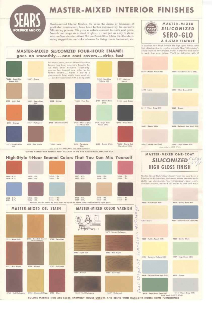 Fabulous 1950S And 60S Paint Colors - From Sears' Classic Harmony House in 1930S Color Palette