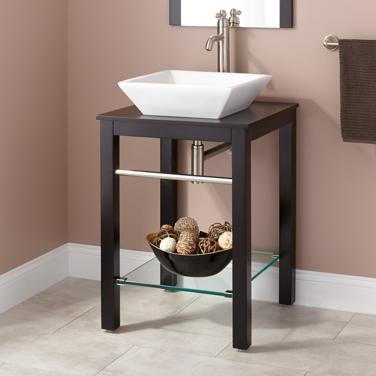 "Fabulous 22"" Cayneston Vessel Sink Console Vanity - Black - Bathroom throughout Bathroom Sink And Vanity"