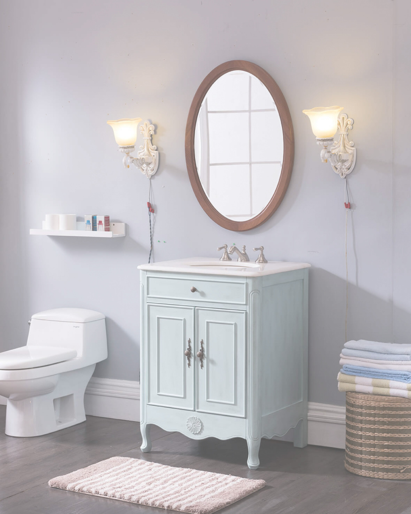 "Fabulous 26"" Light Blue Bathroom Vanity - Antique Recreations intended for Light Blue Bathroom Vanity"