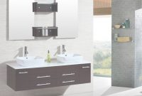 "Fabulous 60"" Modern Bathroom Double Vanities Cabinet Floating Vessel Sink W with Unique Bathroom Double Vanity"