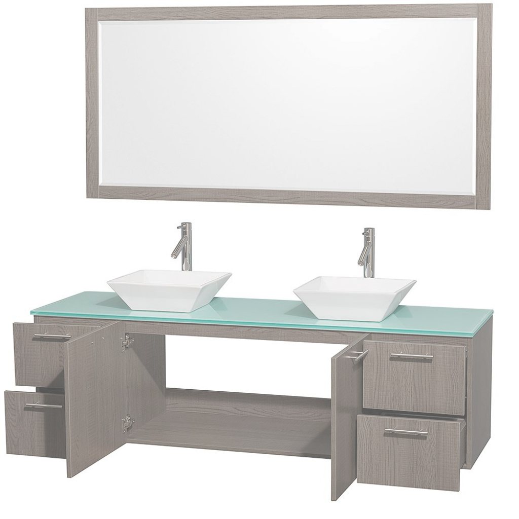"Fabulous 72"" Amare Double Bathroom Vanity In Gray Oak And 70 Inch regarding New 70 Inch Bathroom Vanity"
