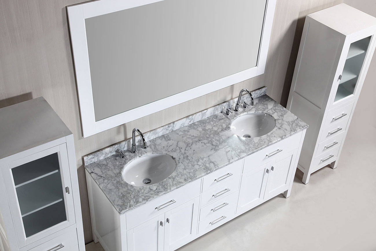 "Fabulous 72"" London Double Sink Vanity Set In White With Two Matching Linen throughout Unique Bathroom Vanities Double Sink 72"