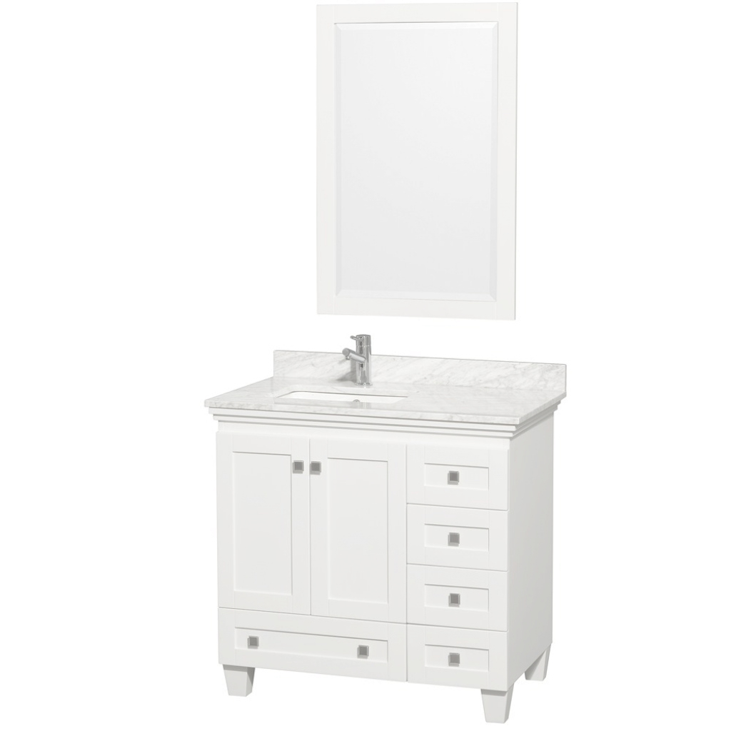 "Fabulous Acclaim 36"" White Bathroom Vanity Set, Featuring Soft Close Door Hinges with Lovely White Bathroom Vanity With Top"