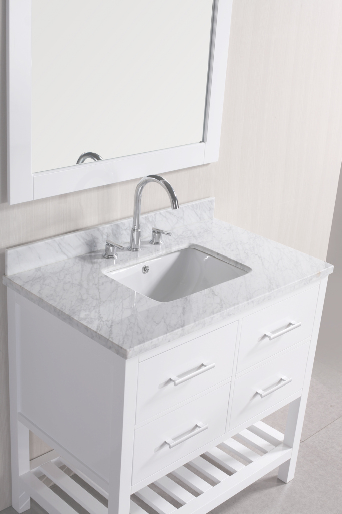 "Fabulous Adorna 36"" White Bathroom Vanity With Under-Mount Sink throughout 36 White Bathroom Vanity"