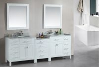 Fabulous Adorna 92 Inch Transitional Double Sink Bathroom Vanity White Finish inside Unique Bathroom Double Sink Cabinets