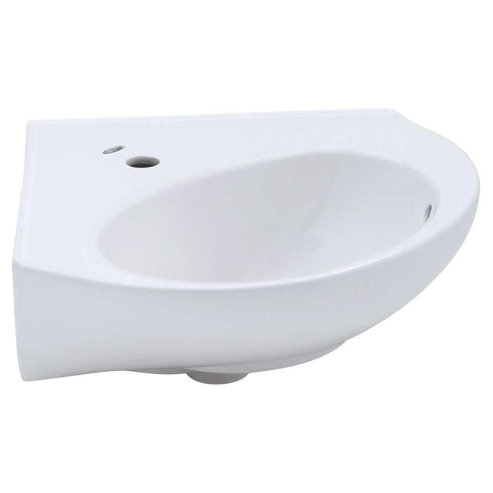 Fabulous American Standard Cornice Corner Wall-Mount Bathroom Sink In White for Elegant Small Bathroom Sinks Wall Mount