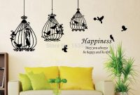 Fabulous Attractive Removable Black Birdcage Birds Wall Sticker Home Art with regard to Living Room Decals