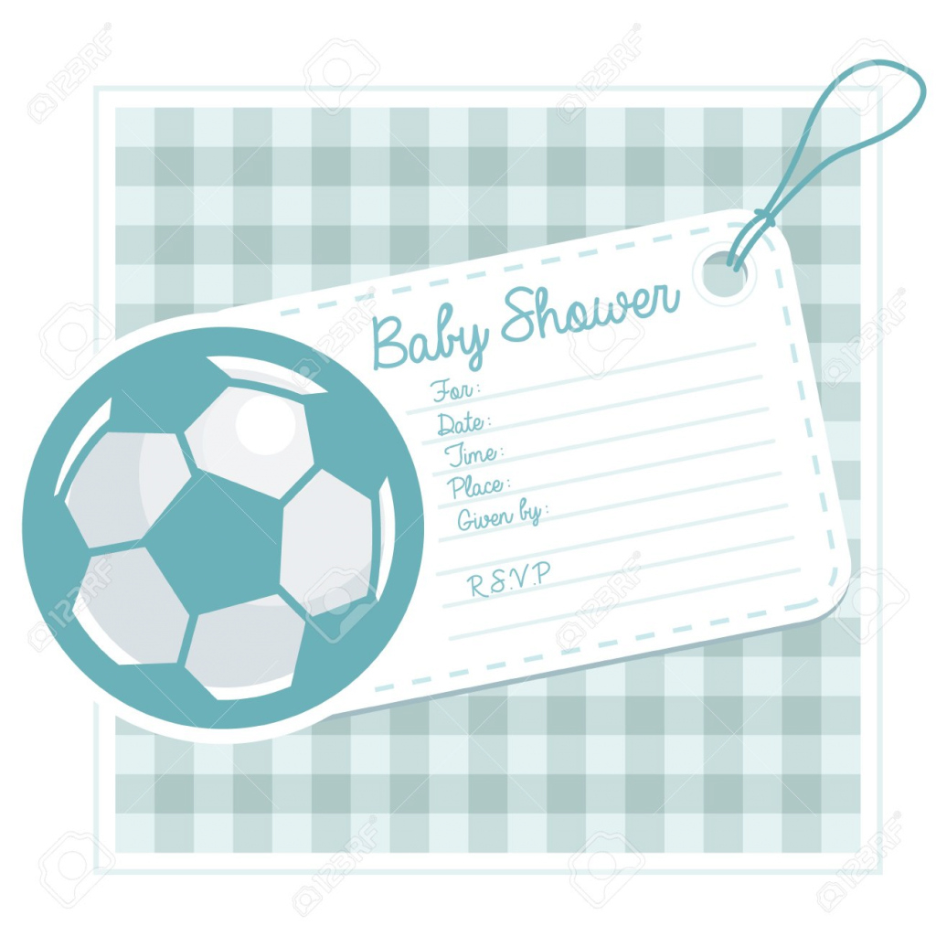 Fabulous Baby Shower Invitation Card With Soccer Ball Royalty Free Cliparts inside Invitaciones De Baby Shower Para Niño