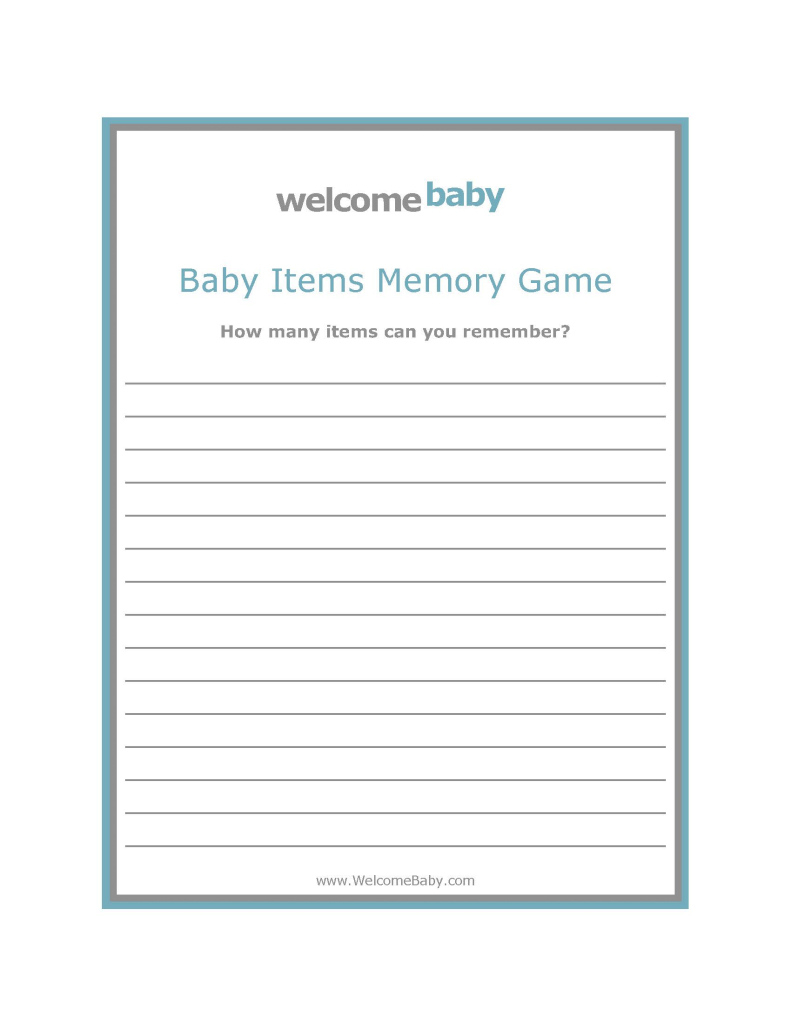 Fabulous Babyitemsmemorygameblue Z Baby Shower Game Template Decoration Free regarding Inspirational Free Baby Shower Game Templates
