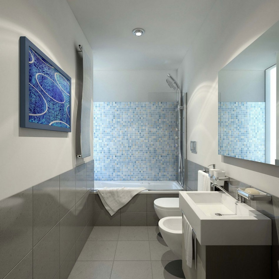 Fabulous Bathroom: Captivating Bathroom Decoration Using Light Blue Mosaic intended for High Quality Blue Glass Tile Bathroom