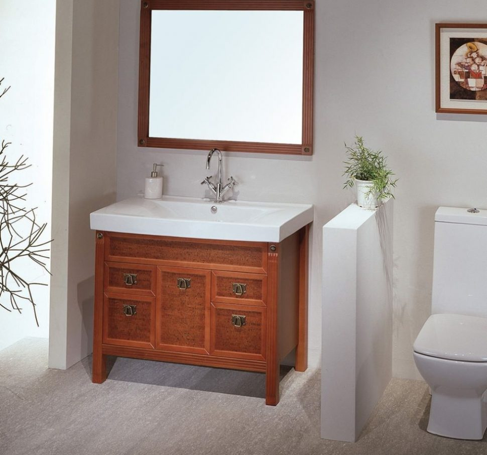 Fabulous Bathroom Vanity : Dark Brown Unique Wooden Vanity Square Curved in Dark Bathroom Vanity