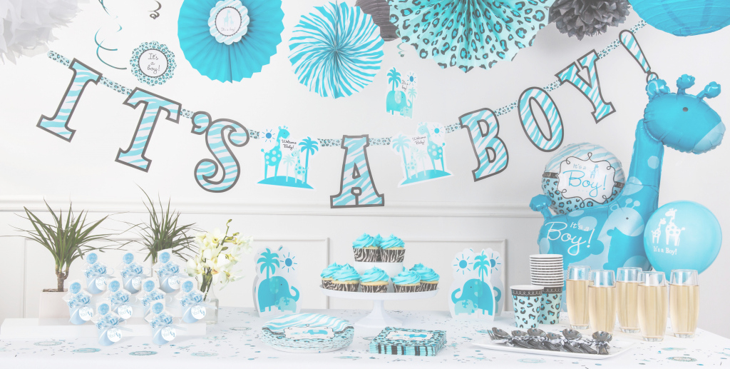 Fabulous Beautiful Ideas Giraffe Baby Shower Decorations Awesome Blue Safari pertaining to Baby Shower Decoration