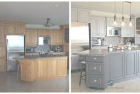 Fabulous Before And After Painted Oak Kitchen Cabinets In Gray. Kylie M E-Design intended for Inspirational Painted Kitchen Cabinets Before And After