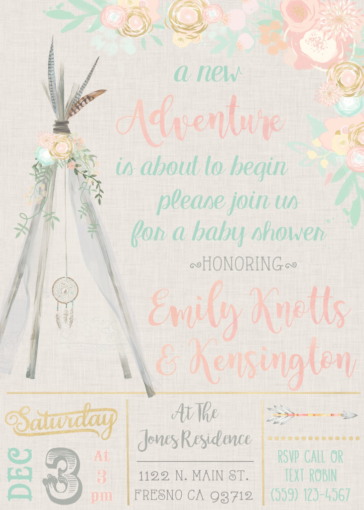 Fabulous Boho Dreamcatcher Teepee Baby Shower Invitation Invite Invitations pertaining to Review Baby Shower Invitations