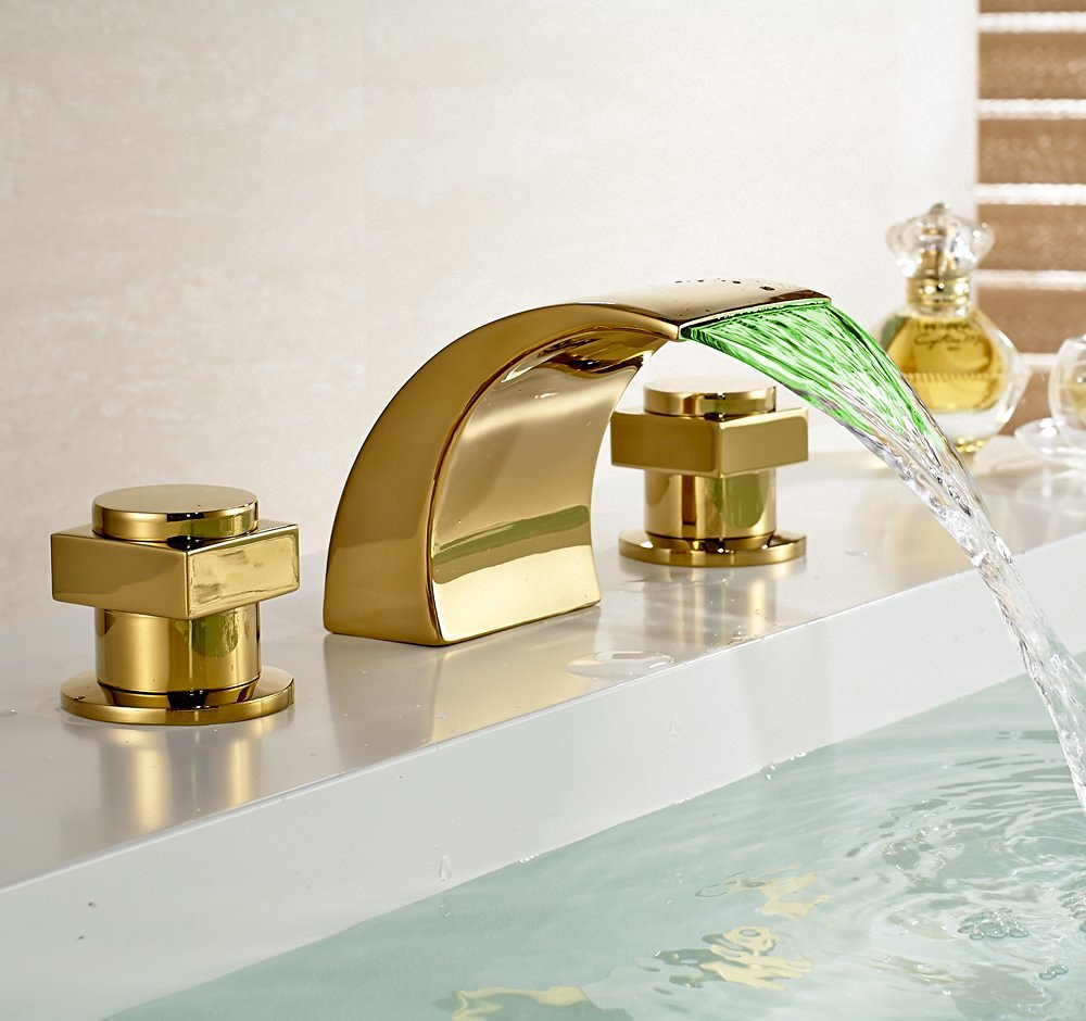 Fabulous Campinas Gold Polished Led Waterfall Bathroom Sink Faucet within Gold Faucet Bathroom