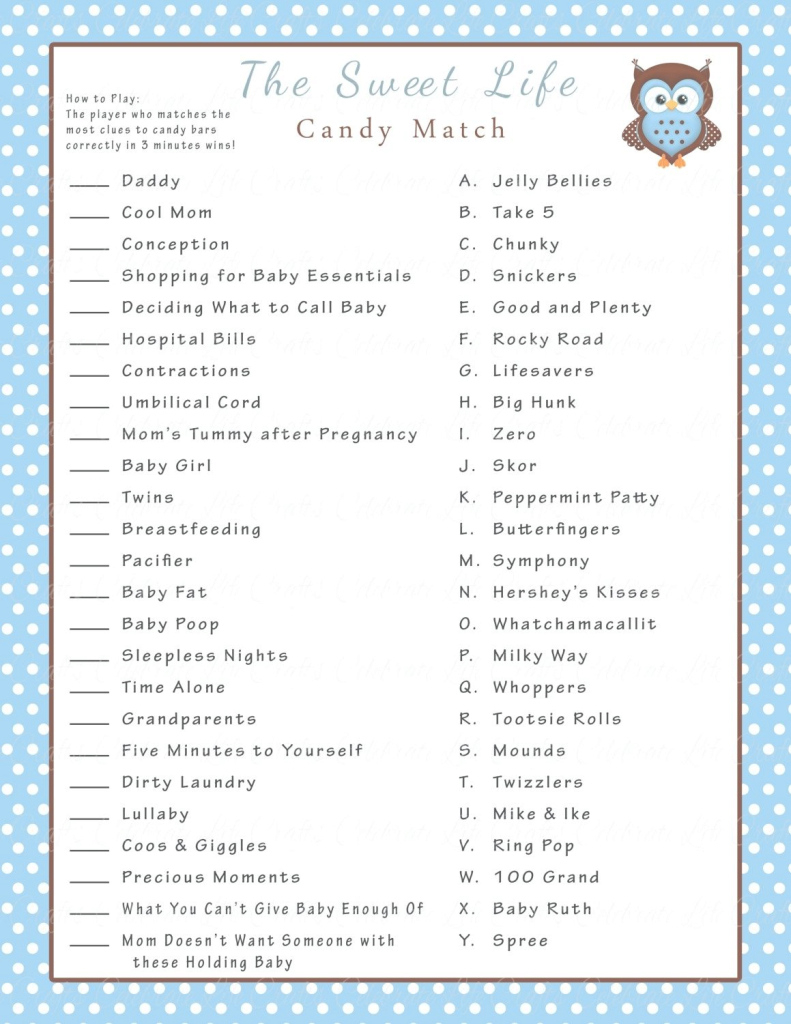 Fabulous Candy Match Baby Shower Game Candy Match Baby Shower Game Answer Key for Baby Shower Candy Bar Game Answers