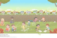 Fabulous Cartoon Kids Playing. Stock Vector. Illustration Of Nature – 76008613 regarding Backyard Cartoon
