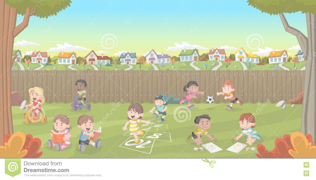 Fabulous Cartoon Kids Playing. Stock Vector. Illustration Of Nature - 76008613 regarding Backyard Cartoon