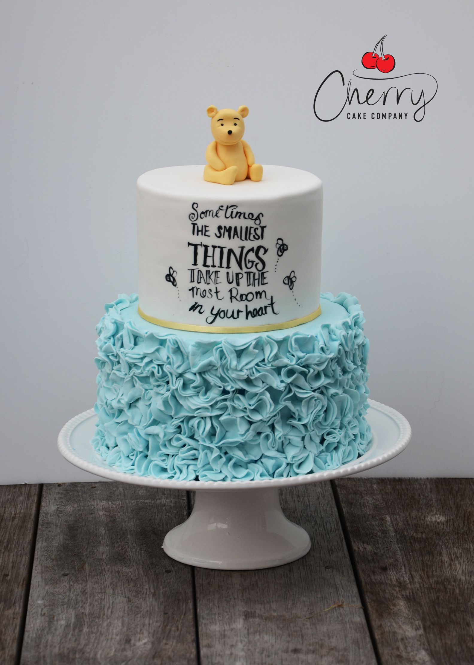 Fabulous Cute Winnie The Pooh Baby Shower Cake With Ruffles | Tiny Human inside Unique Winnie The Pooh Baby Shower Cakes