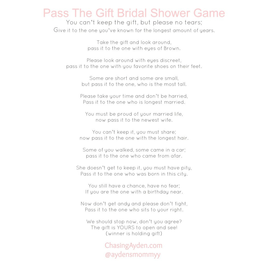 picture relating to Baby Shower Pass the Prize Rhyme Printable known as P The Present Boy or girl Shower Activity - Web page 2 - +6000 Little one Shower