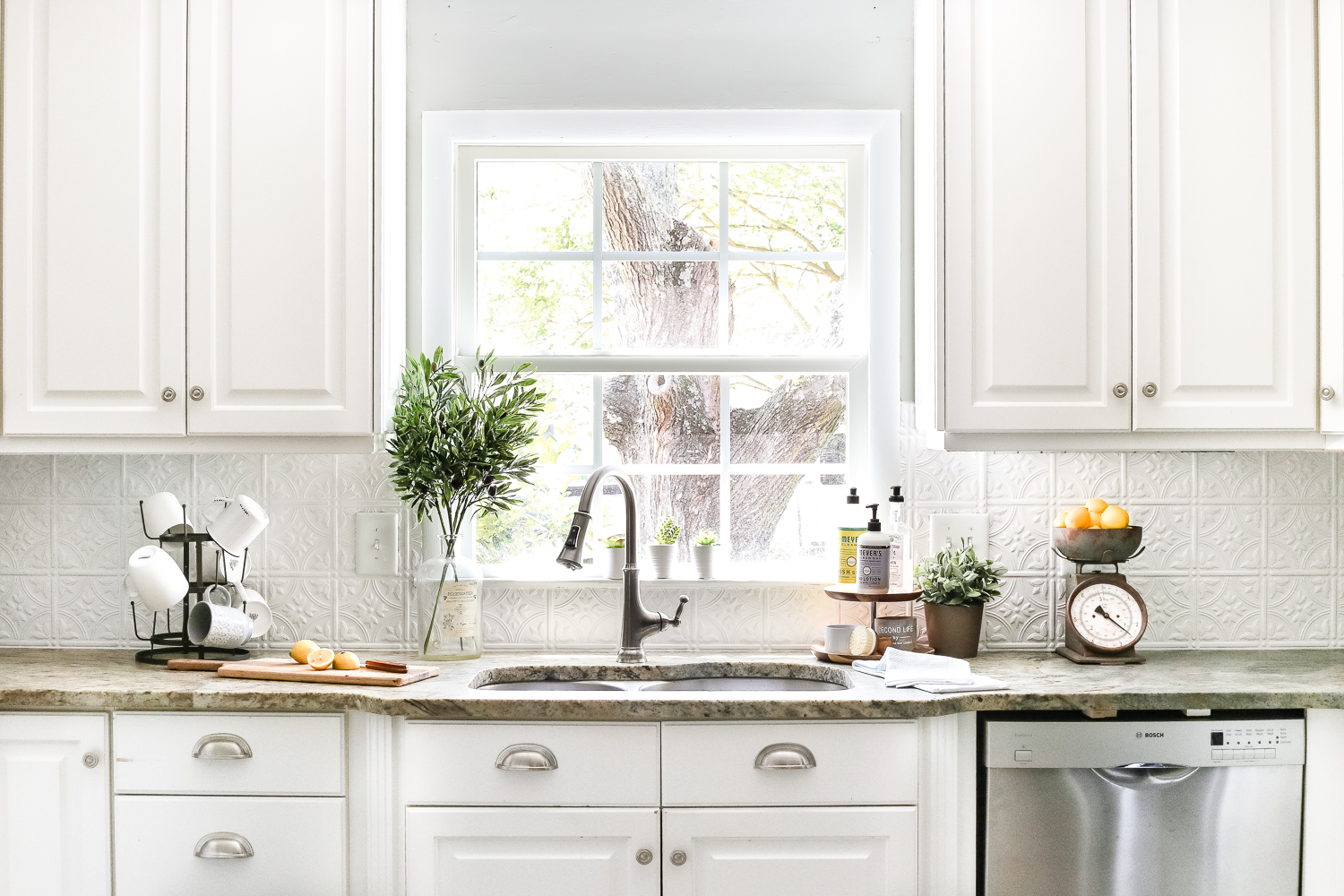 Fabulous Diy Pressed Tin Kitchen Backsplash - Bless'er House intended for Beautiful Kitchen Without Backsplash