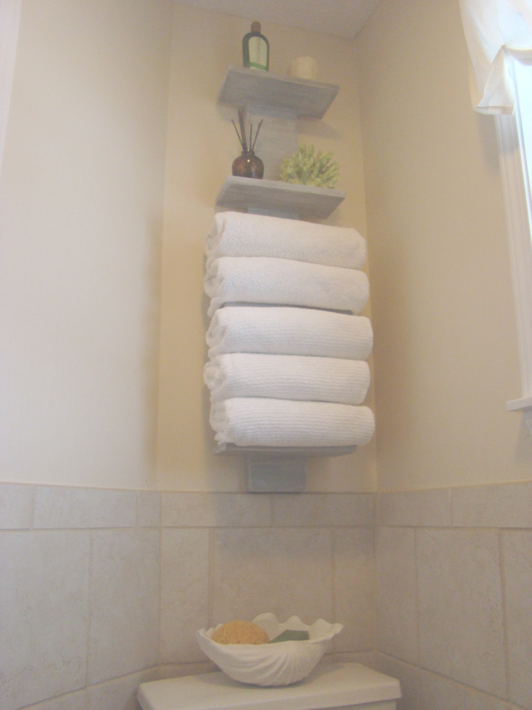 Fabulous Fantastic Floating Towel Storage Shelves Hang On Cream Wall Bathroom intended for Set Bathroom Towel Holder Ideas