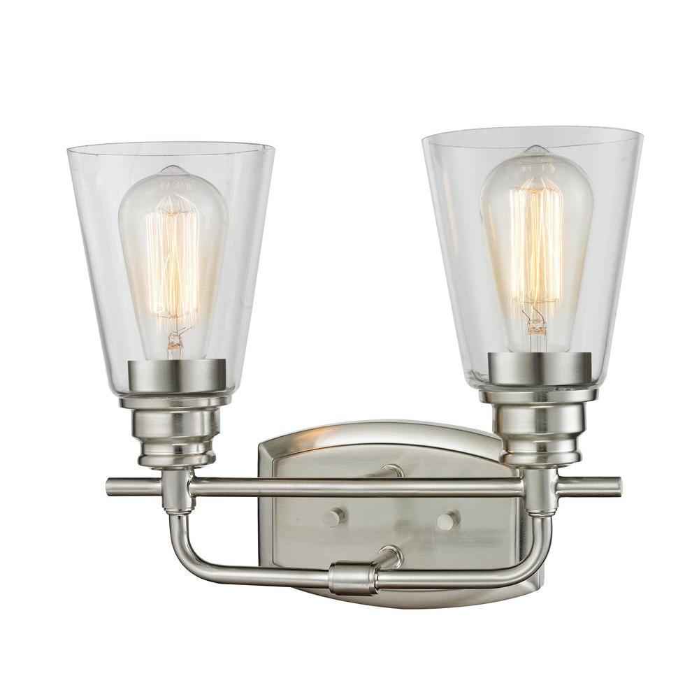 Fabulous Filament Design Nina 2-Light Brushed Nickel Steel Contemporary Bath with Review Bathroom Vanity Light Bulbs