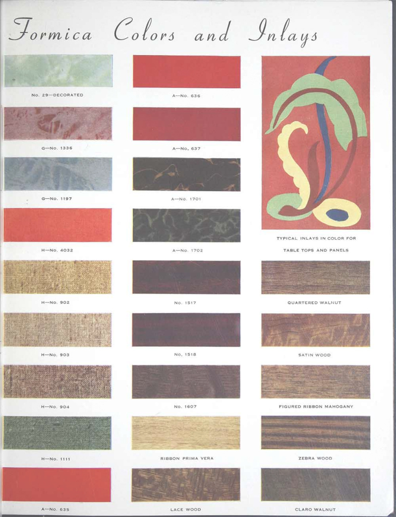 Fabulous Formica Catalog From 1938 - 50 Colors And Designs - 12 Pages - Retro inside 1930S Color Palette