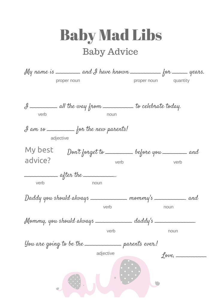 Fabulous Free Baby Mad Libs Game - Baby Advice - Baby Shower Ideas - Themes regarding Awesome Baby Shower Games Free Printable