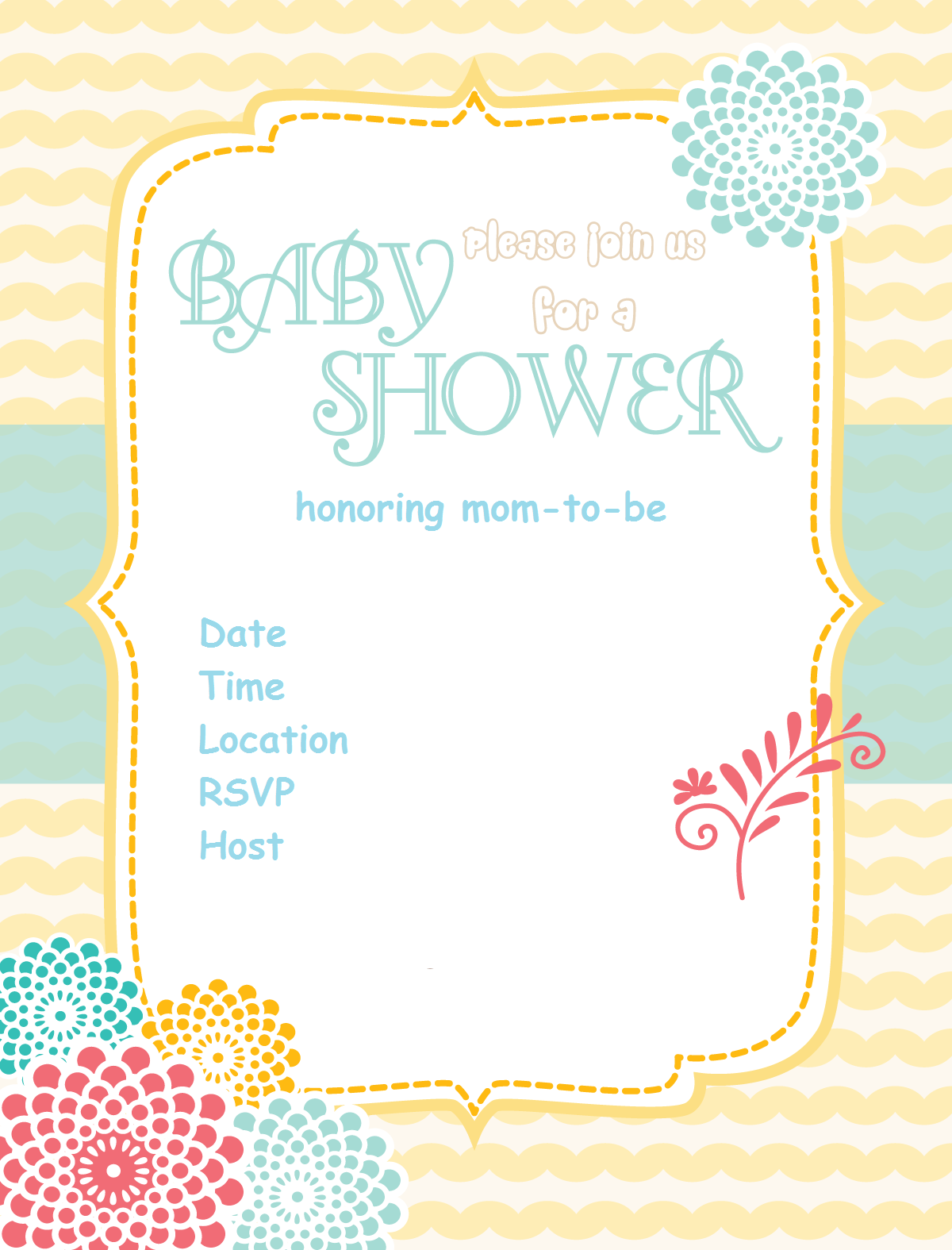 Fabulous Free-Baby-Shower-Invitation-Sunshine-Flower Via Www with Lovely Free Baby Shower Invitations