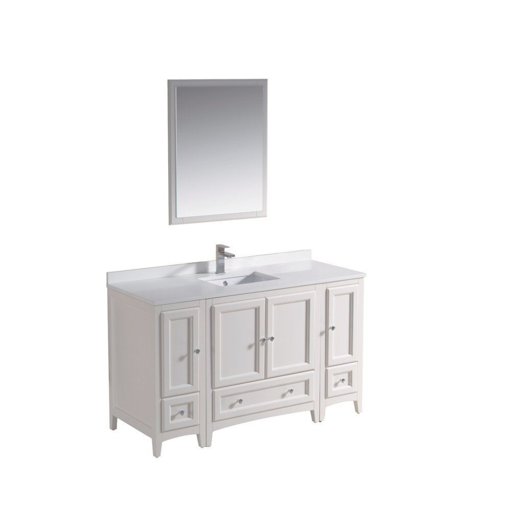 Fabulous Fresca Oxford 54 In. Vanity In Antique White With Ceramic Vanity Top within 54 Bathroom Vanity