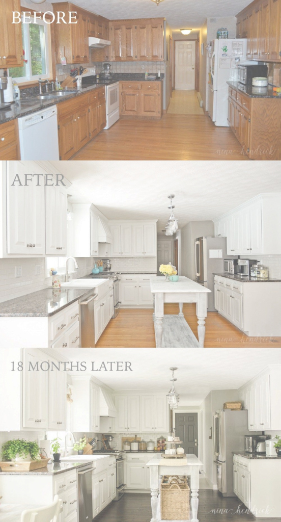 Fabulous How To Paint Oak Cabinets And Hide The Grain | Pinterest | White throughout Inspirational Painted Kitchen Cabinets Before And After
