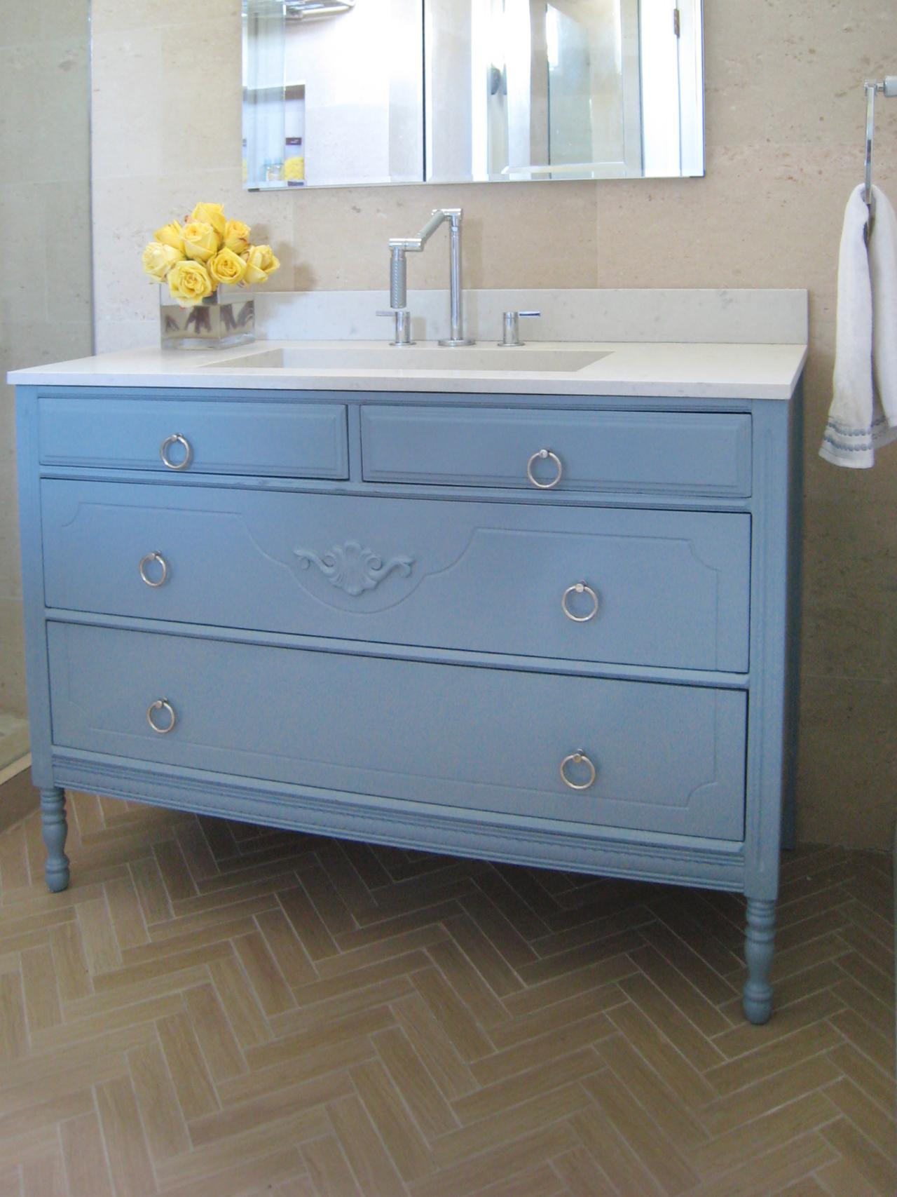Fabulous How To Turn A Cabinet Into A Bathroom Vanity | Hgtv pertaining to Blue Bathroom Vanity Cabinet