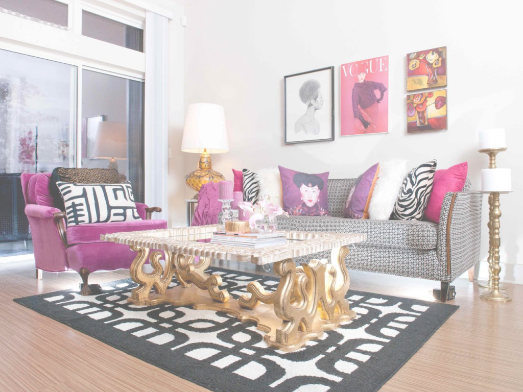 Fabulous Interiors Pretty In Pink And Gold intended for Black White And Gold Living Room