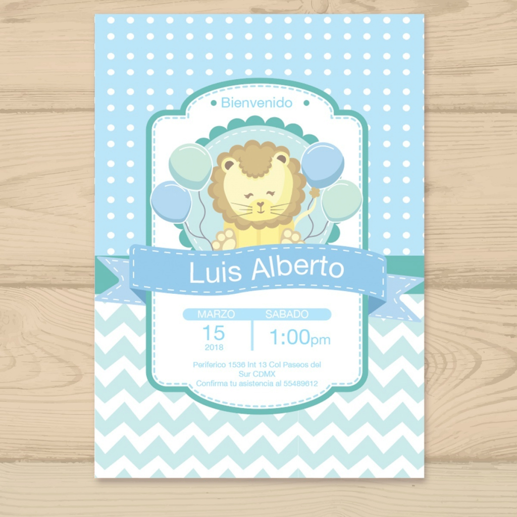 Fabulous Invitación Baby Shower Niño Niña Personalizadas Leon - $ 9.99 En pertaining to Good quality Invitaciones De Baby Shower Para Niño