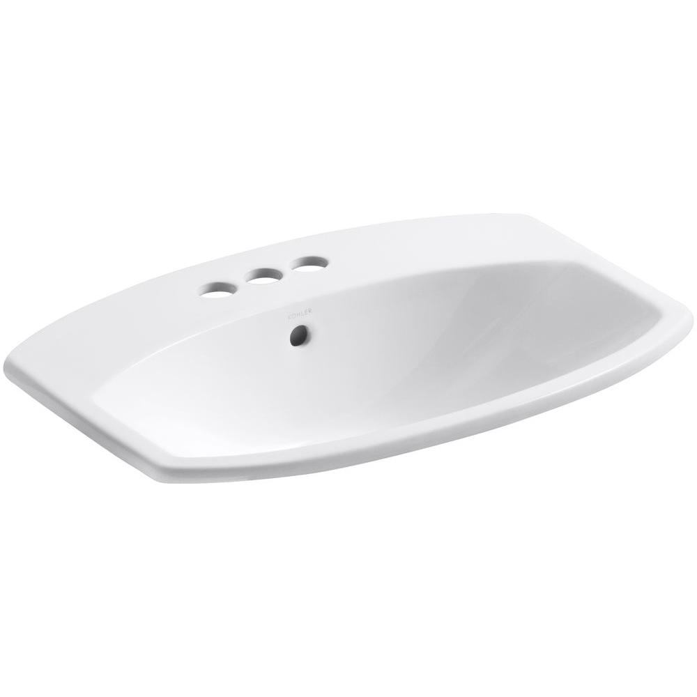 Fabulous Kohler Cimarron Drop-In Vitreous China Bathroom Sink In White-K-2351 with regard to High Quality Drop In Bathroom Sinks